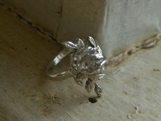 The Soul of The Woodland Nymph. Herkimer Diamond sterling silver Vine Leaf  Branch Rustic engagement promise statement OOAK handmade Ring. $305.00, via Etsy.
