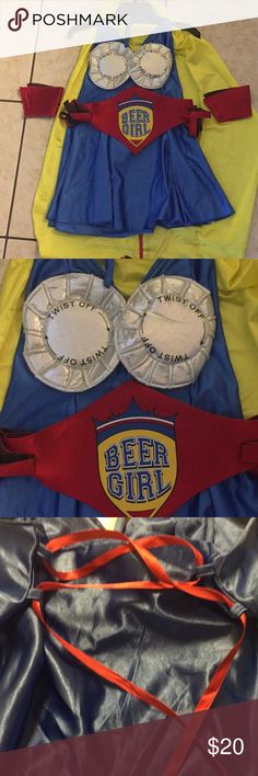 Beer girl Halloween costume Beer girl Halloween costume. Worn once. One size fits most. Back laces up so can be adjusted to fit most people. Comes with cape beer girl belt two arm cuffs and two leg cuffs. Other