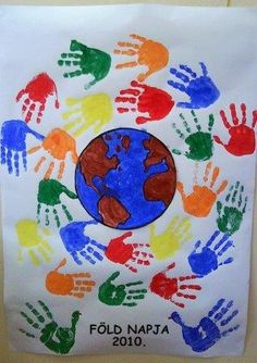 A fun way to involve the whole class this Earth Day with this fun and interactive poster- a pledge to protect the earth! Perfect for an Earth Day unit with kindergarten and first grade kids this spring! Fall Crafts, Diy And Crafts, Crafts For Kids, Arts And Crafts, Earth Craft, Earth Day Crafts, Earth Day Activities, Preschool Activities, Harmony Day