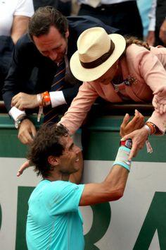 Infanta Elena, felicita a Rafael Nadal por su gran victoria en el French Open at Roland Garros in Paris