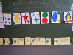 Estrelles, llunes, sols, pingüí amb els colors bàsics de Joan Miró, per la disfressa.