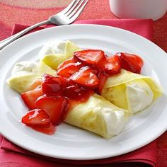 Strawberry Creme Crepes Recipe -I always feel like a French chef when I serve these pretty crepes. Although they take a little time to prepare, they're well worth the effort. My guests are always impressed. —Debra Latta, Port Matilda, Pennsylvania