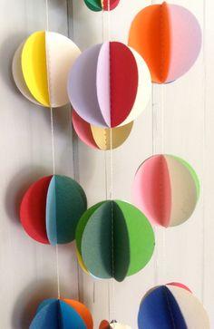 The Mini Pom Pom 'Mix Up' Paper Garland by MaisyandAlice on Etsy