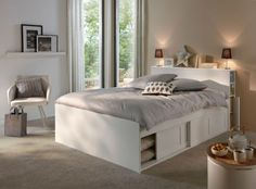 Bed with storage Belem, Conforama, price: € - Ikea DIY - The best IKEA hacks all in one place Bed Frame Design, Bedroom Bed Design, Small Bedroom Designs, Home Room Design, Ikea Bedroom, Bedroom Decor, Small Bedroom Storage, Bed Frame With Storage, Condo Furniture