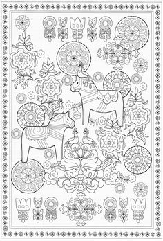 Coloring Contest for Adults 2016 Awesome Scandinavian Coloring Book Pg 58 Free Adult Coloring Pages, Colouring Pages, Free Coloring, Coloring Sheets, Coloring Books, Scandinavian Folk Art, Halloween Coloring Pages, Theme Noel, Digital Stamps