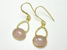 Sterling Silver Gold Overlay Rose Quartz Earrings