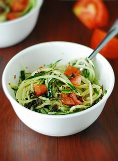 Cucumber Pasta Salad - Healthy, fresh and delicious cucumber pasta with delicious tomatoes. Perfect for low carb and low calorie.
