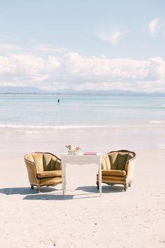 Love this idea- vintage furniture on the beach
