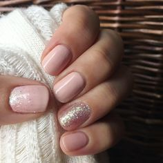 Blush pink polish with glitter accents