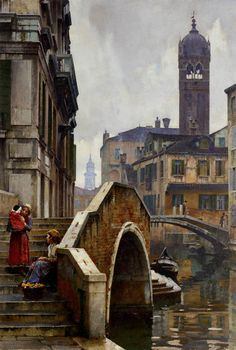 William Logsdail (1859-1944)  The Ponte dei Pugni, Venice, with the Campanile of Sta. Fosca beyond
