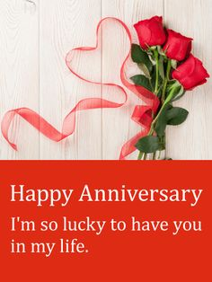 "Red Ribbon & Rose Happy Anniversary Card: Say ""I love you"" with roses this anniversary. Roses symbolize deep and abiding love. Let your special someone know that you feel lucky to have them in your life with this gorgeous anniversary card. They bring you joy and happiness and fill each day with love. They deserve the little things, like a special anniversary greeting card in their inbox."