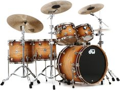 """DW Collector's Series 5-piece Drum Kit with 10"""" and 12"""" Rack Toms, 14"""" and 16"""" Floor Toms, and 22"""" Kick Drum - Satin Natural to Burnt Toast Fade"""