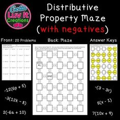 "Distributive Property MazeIncludes NegativesThis product can be used for additional practice or homework assignment. 20 problems Answer Key included No prep - just print!Want to share with colleagues?  Additional licenses for $1 each can be purchased at the time of checkout or return later and buy additional licenses on the ""My Purchases"" page of your account.Want more mazes?"