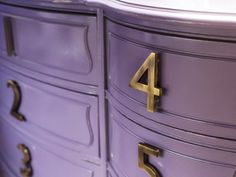 Use house numbers for drawer pulls