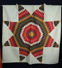 """Large Star Hand Sewn Quilt 84"""" x 88"""" Has 1"""" x 1"""" Quilting Beige Brown Red"""