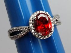Stunning-Red-Stone-Costume-Ring-Detailed-Split-Silvertone-Band-Size-8