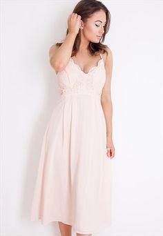 e6b3dfab9a66f9 Elea+Plunge+Lace+Skater+Midi+dress+Nude Abendkleid
