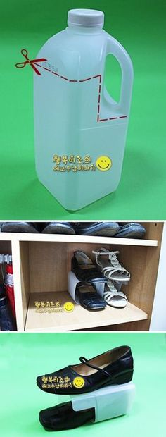 Turn a half-gallon of milk into shoe shelves for stackable shoe storage.