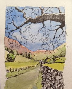 Ullswater by John Harrison Pen And Watercolor, Watercolor Landscape, Watercolor Paintings, Watercolours, Watercolor Trees, Watercolor Portraits, Abstract Paintings, Landscape Drawings, Landscape Art