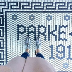 Pink coat, silver shoes, great tiles = can't lose. #type #tile #letterting