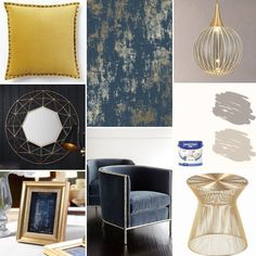 Home Decoration Living Room Key: 8726018692 Blue And Gold Living Room, Navy Living Rooms, Blue Living Room Decor, Elegant Living Room, My Living Room, Living Room Designs, Blue And Gold Bedroom, Gold Bedroom Decor, Gold Rooms