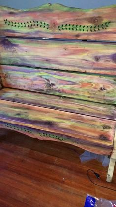 giving new life to my old bench with unicorn spit , outdoor furniture, painted furniture