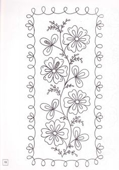 Flower Embroidery Ideas Flowers with border Mexican Embroidery, Floral Embroidery Patterns, Hand Embroidery Designs, Embroidery Applique, Cross Stitch Embroidery, Machine Embroidery, Flower Embroidery, Longarm Quilting, Free Motion Quilting