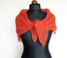 Orange  red mohair scarf hand knitted casual shawl by Renavere