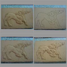 Relief, deer, clay