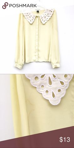 Pale Yellow Peter Pan Collar Blouse Light yellow Blouse with a lace-like Peter Pan collar. Staining under armpits, reflects in price. The color of the blouse is slighly more yellow than pictures show. Tops Blouses