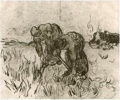 Peasant Women Digging Vincent van Gogh Drawing, Black chalk Saint-Rémy: March - April, 1890