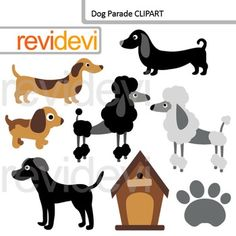 Dog and puppy clip art - Dog parade clipart. This digital pack features dogs…