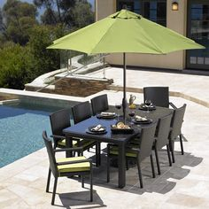 The Tybee outdoor dining collection is clean, sleek and looks amazing!  Made with the finest resin wicker and with an extruded aluminum frame, Tybee is a durable high-quality dining set. Available with any Sunbrella color to match seat cushions. Seats up to 8. Now on sale at The Great Escape!