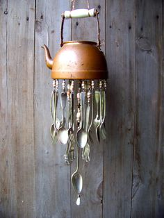 My latest copper tea kettle chime... Vintage Copper Tea Pot WIndchime by malindadickens on Etsy, $73.00