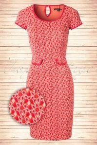 60s Tulip Adenium Dress in Tangerine Red