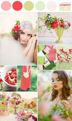 wedding color combination: Strawberry Fields: pinks and grey-greens