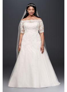 Jewel 3/4 Sleeve  Plus Size Wedding Dress 9WG3734