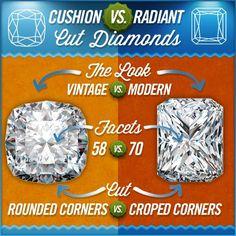 Cushion Cut Diamonds vs Radiant Cut Diamonds   #Wedding #Ring Knowledge