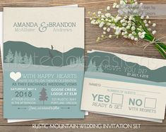 Mountain Wedding Invitation Set  Rustic Wedding by NotedOccasions. Mountain wedding invitations for rustic Outdoor weddings designed with mountains in mind.