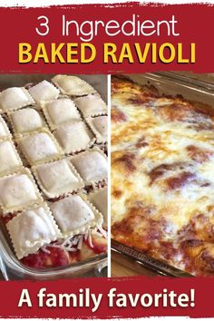 3 Ingredient Ravioli Bake (A. Lazy Lasagna) - Just 3 ingredients! My family loves this recipe. It's so quick and easy to put together and the k - Cheese Ravioli Recipe Easy, Frozen Ravioli Recipes, Ravioli Bake, Pasta Recipes, Ravioli Lasagna, Korean Bbq Recipe, Korean Recipes, 3 Ingredient Dinners, Lazy Lasagna