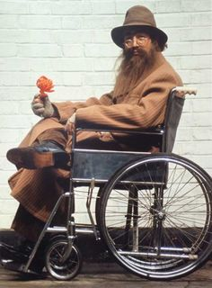 John Lennon in Disguise, in Wheelchair, on the Set of Help!, 1965