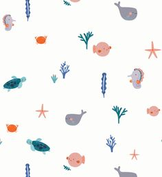 sea life - sea life photography - sea life underwater - sea life artwork - sea life watercolor sea l Sea Illustration, Pattern Illustration, Illustration Fashion, Wallpaper Iphone Cute, Cute Wallpapers, Whatsapp Wallpaper, Baby Prints, Surface Pattern Design, Pattern Wallpaper