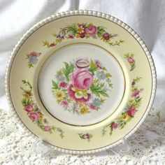Simpsons vintage side plate Ambassador Ware 1940s - 1970s Pretty yellow and cream china plate with impressive floral decoration in pink blue purple & green