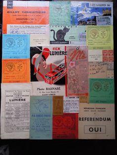 Collage de vieux papiers des années 60