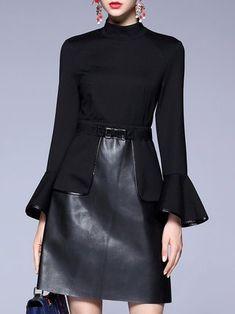bd02497ff5 Black Paneled A-line Solid Midi Dress Stylewe Dresses