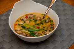 Spicy Thai Coconut Chicken soup   Peter's Pan- cant wait to try this one!,