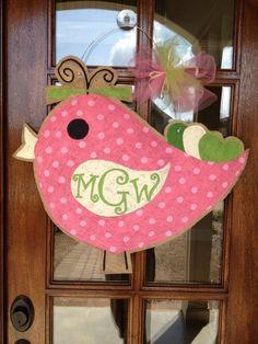 burlap bird door hanger
