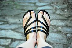 Black summer sandals womens leather black slides by NikolaSandals