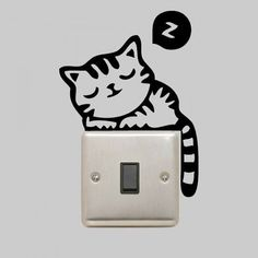 Couchage chat Sticker autocollant pour la prise par VinyleeGraphix