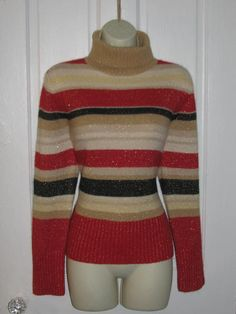 TOMMY HILFIGER SWEATER // Striped Turtleneck Pullover 90's